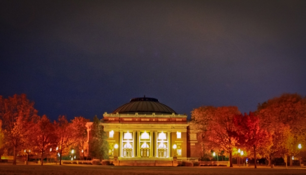 Foellinger Auditorium in the Fall at night